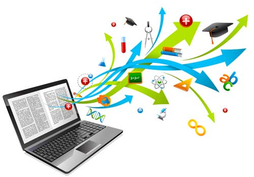 Illustration of various math and science symbols coming out of laptops screen